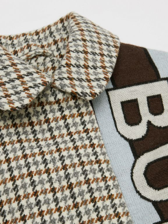 Logo Panel Houndstooth Check Wool Coat in Rust Brown | Burberry - cell image 1