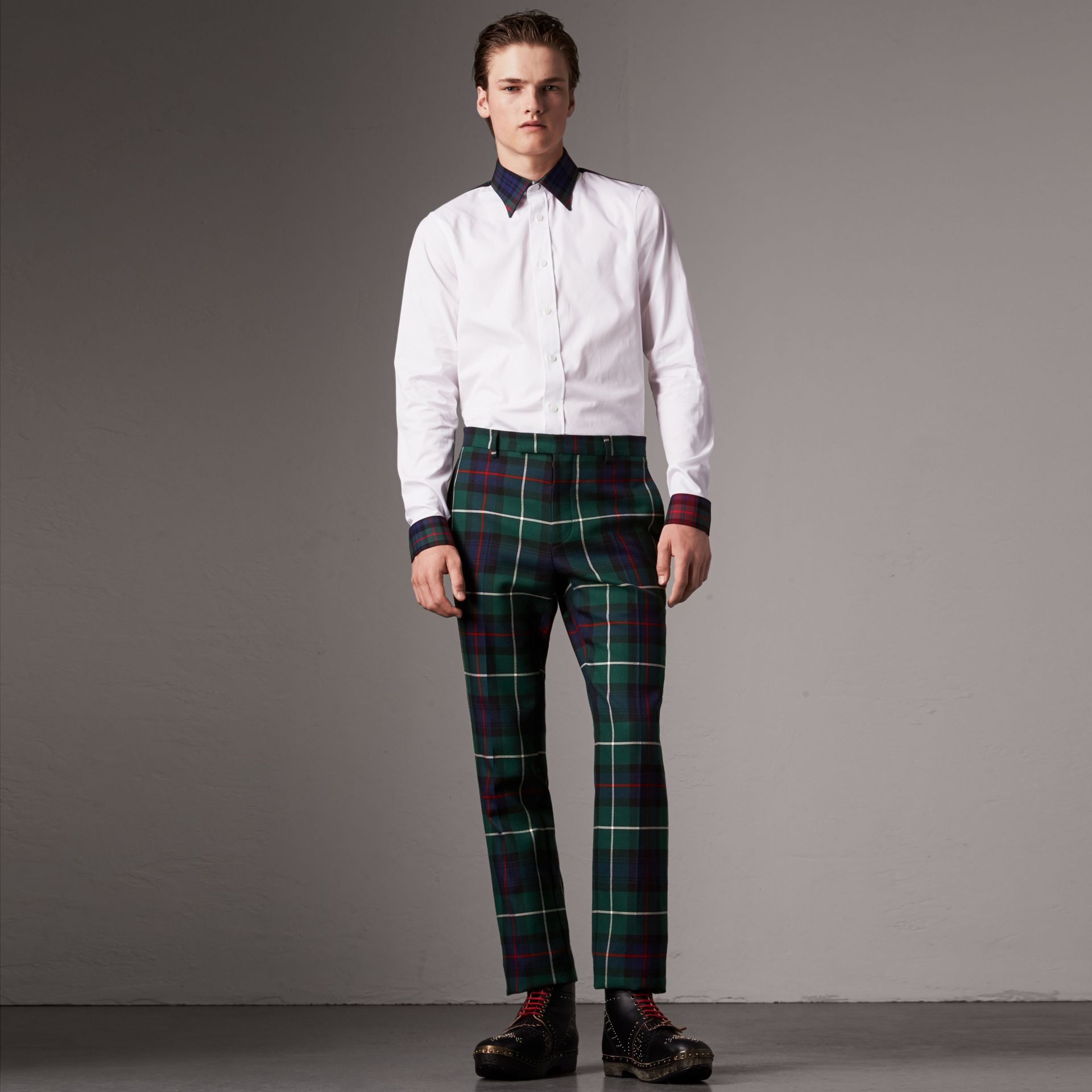 Tartan Cotton Gabardine Detail Cotton Poplin Shirt in White - Men | Burberry United States - gallery image 0
