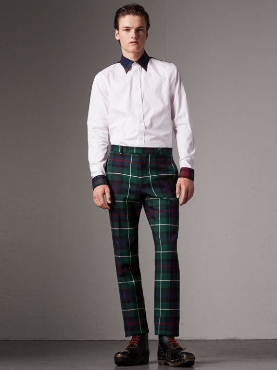 Tartan Cotton Gabardine Detail Cotton Poplin Shirt in White