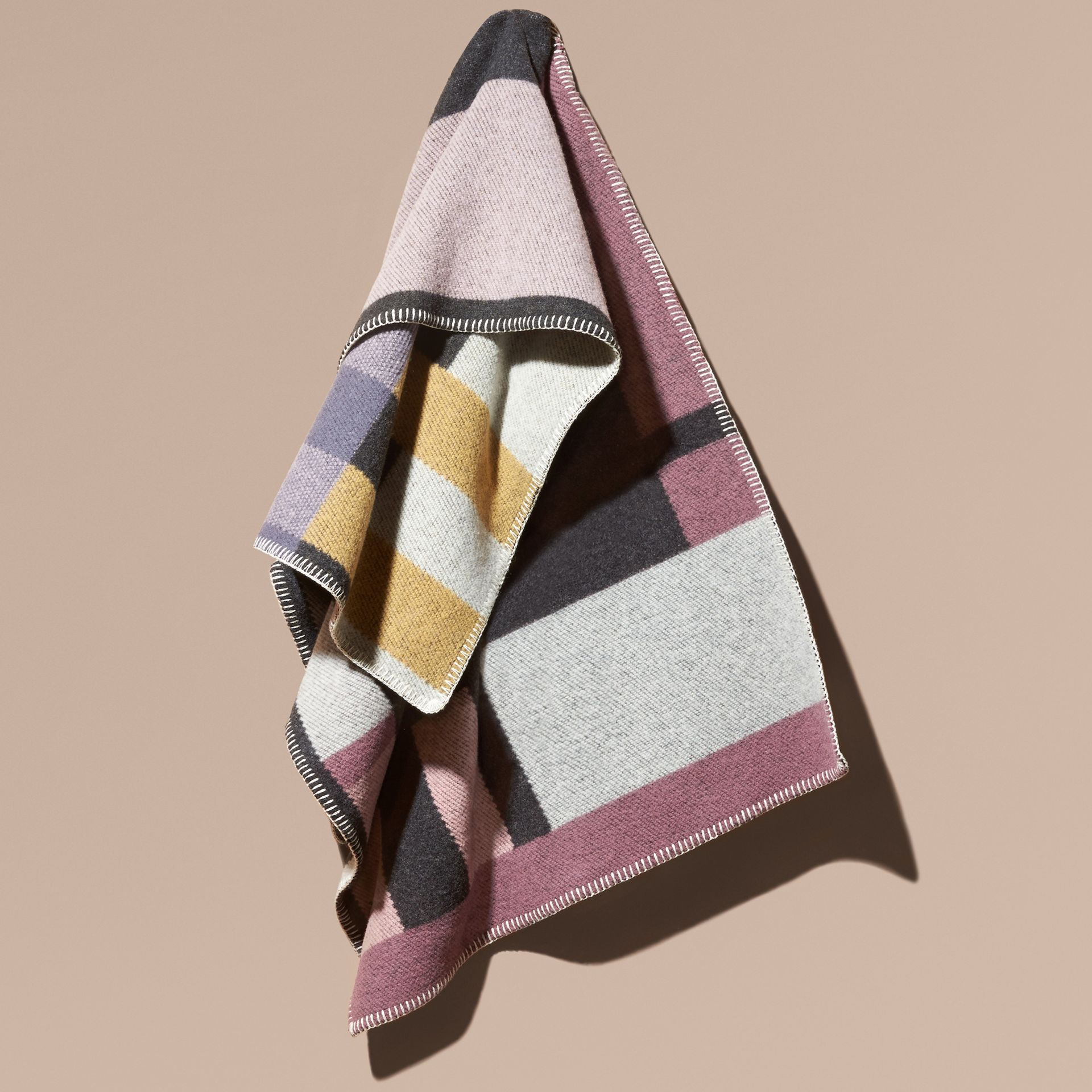 Mauve pink Check Wool and Cashmere Blanket Poncho - gallery image 6