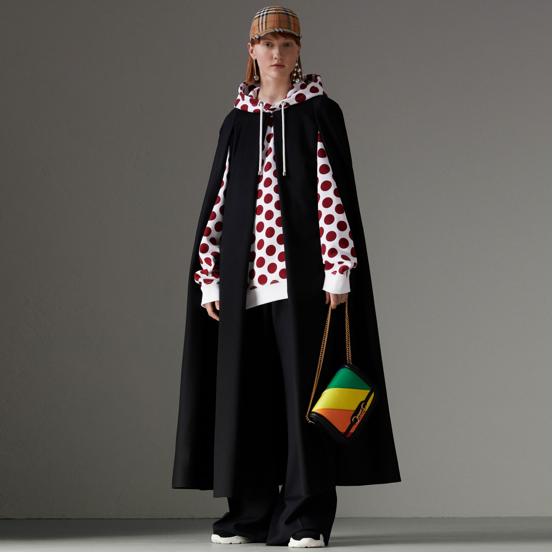 Long Doeskin Wool Cape in Black - Women | Burberry - gallery image 0
