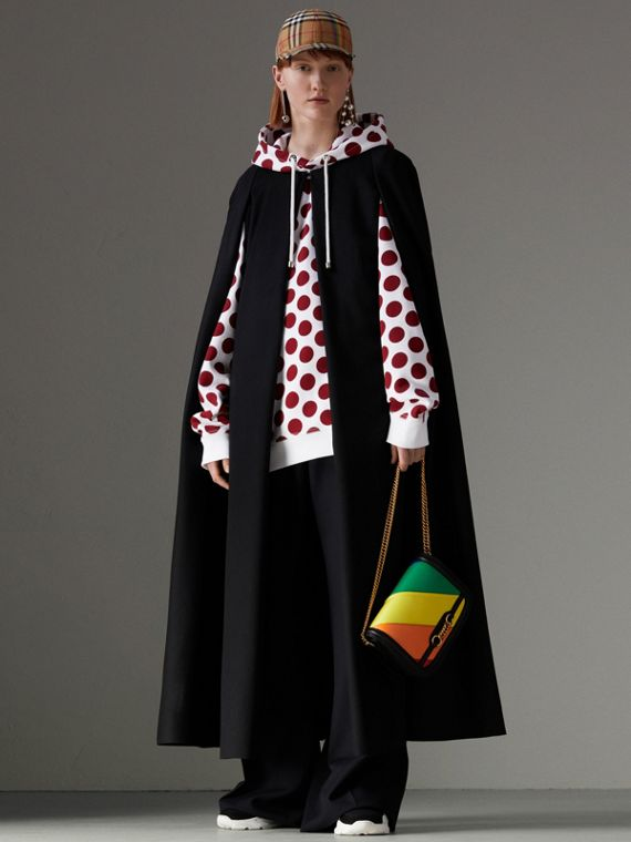 Long Doeskin Wool Cape in Black