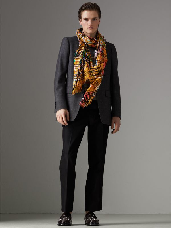 Graffiti Print Vintage Check Wool Silk Scarf in Amber Yellow | Burberry - cell image 2