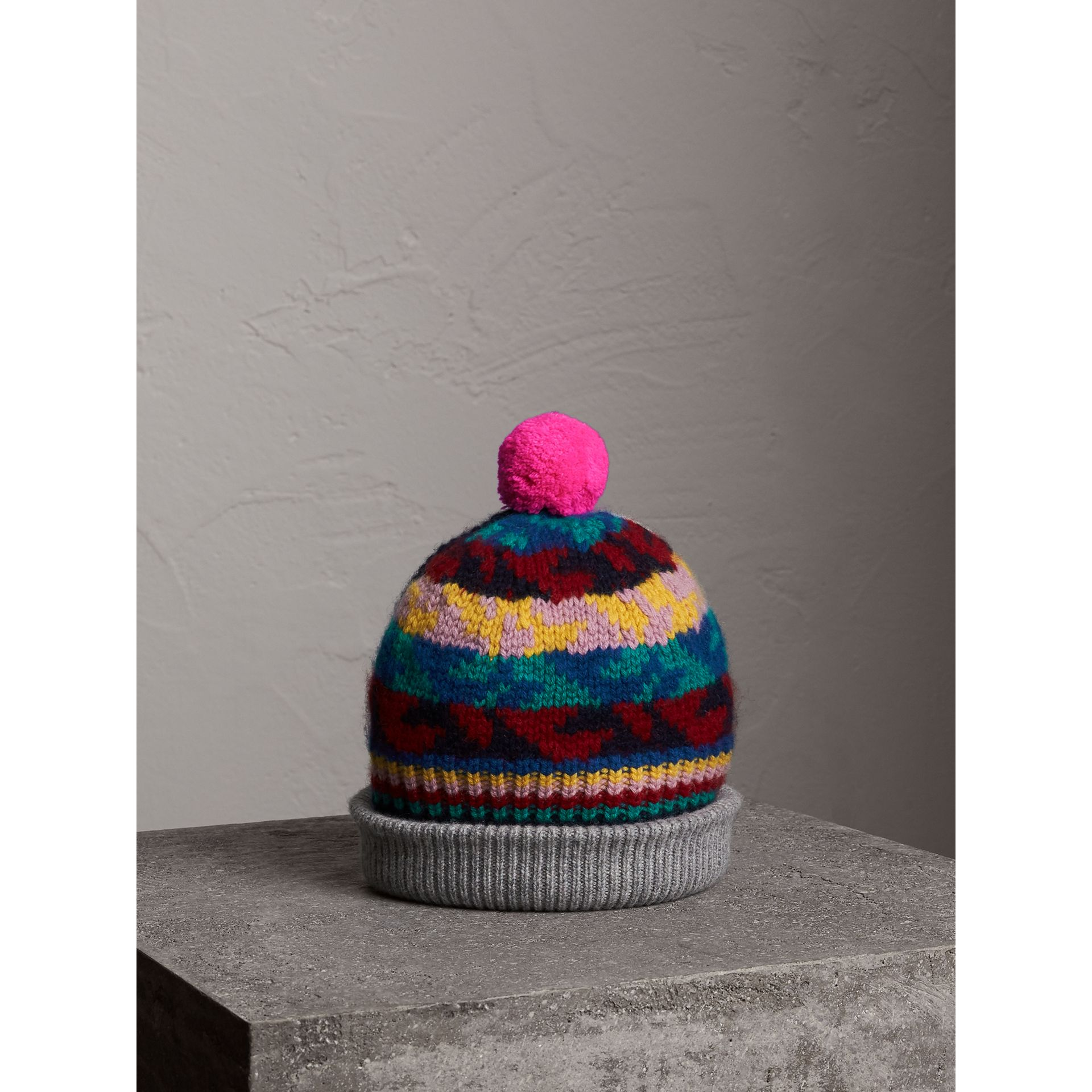 Pom-pom Fair Isle Cashmere Wool Beanie in Dark Teal | Burberry - gallery image 1