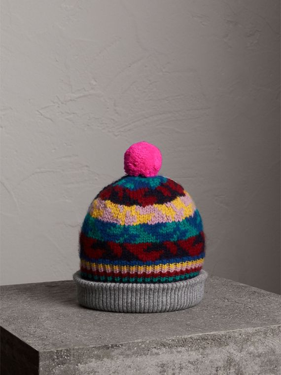 Pom-pom Fair Isle Cashmere Wool Beanie in Dark Teal