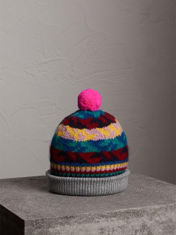 Beanie aus Kaschmir und Wolle im Fair Isle-Design mit Bommel (Dunkles Blaugrün)
