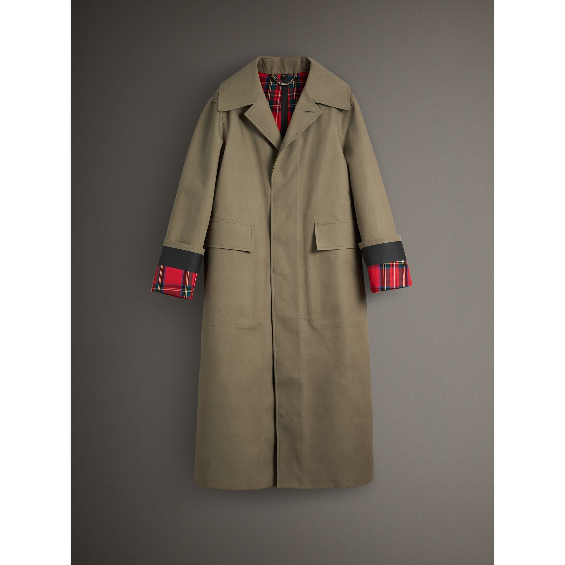 Bonded Cotton Oversized Seam-sealed Car Coat in Pale Olive/bright Red - Men | Burberry United Kingdom - gallery image 3