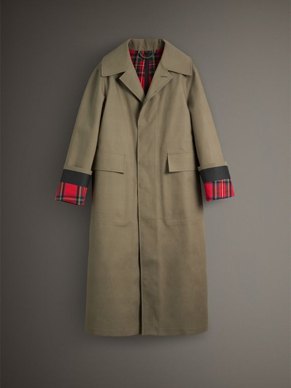 Bonded Cotton Oversized Seam-sealed Car Coat in Pale Olive/bright Red