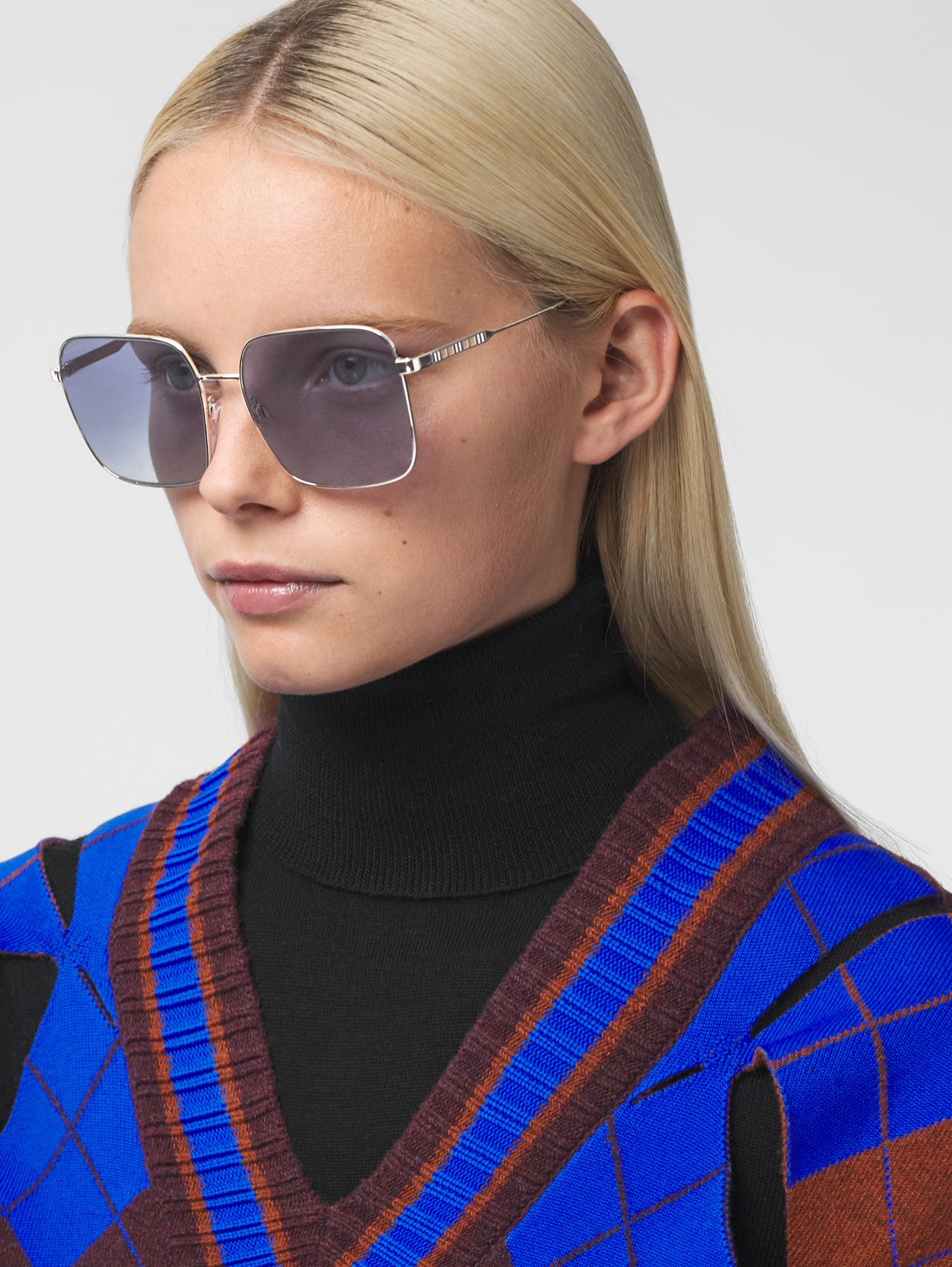Oversized Square Frame Sunglasses in Grey Tortoiseshell