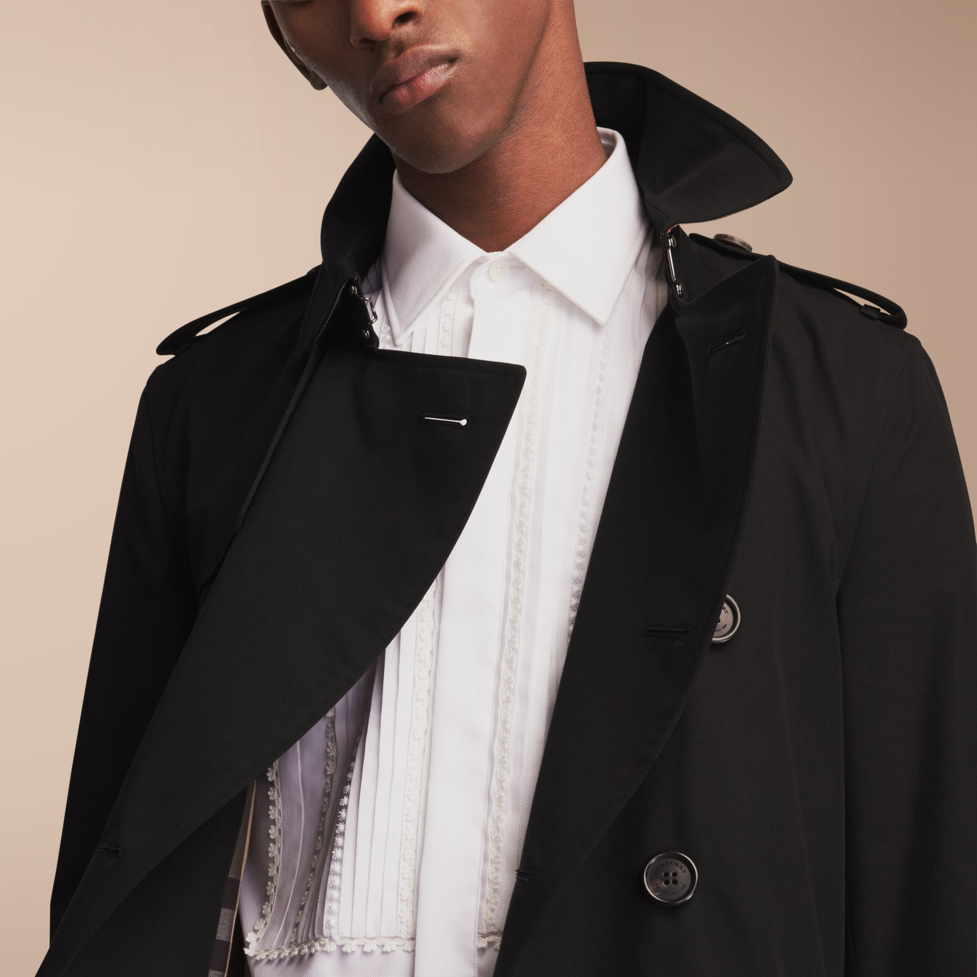 The Sandringham – Mid-length Heritage Trench Coat Black - gallery image 10
