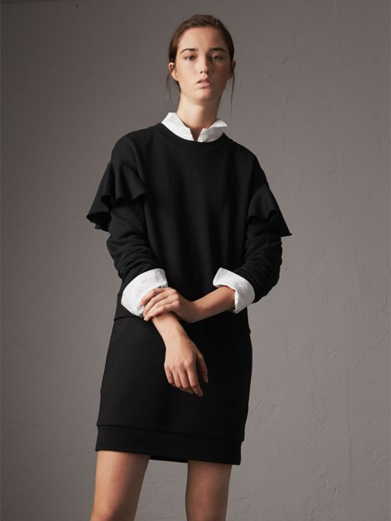 Ruffle-sleeve Cotton Sweater Dress in Black