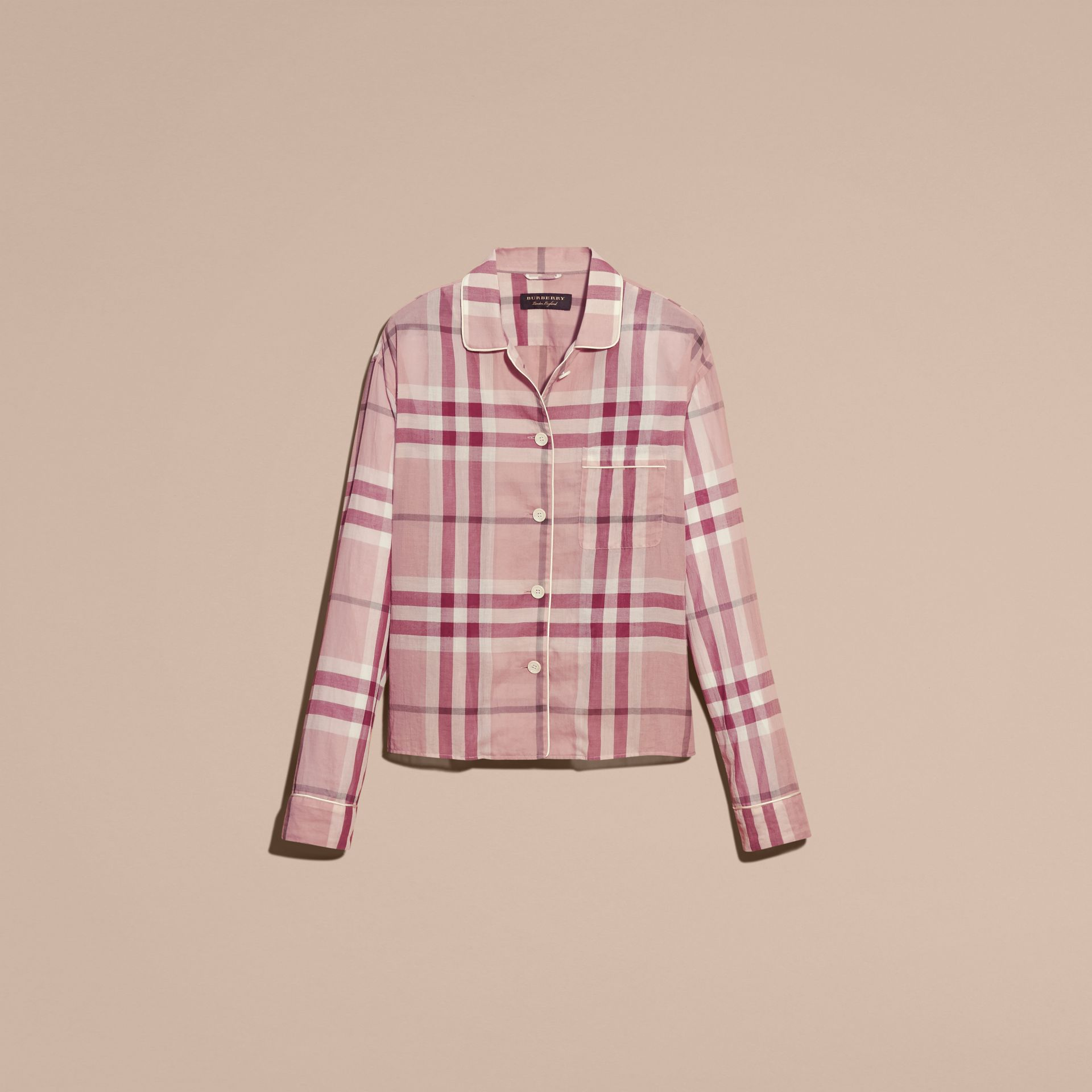 Antique pink Check Cotton Pyjama-style Shirt Antique Pink - gallery image 4