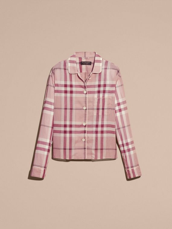 Antique pink Check Cotton Pyjama-style Shirt Antique Pink - cell image 3