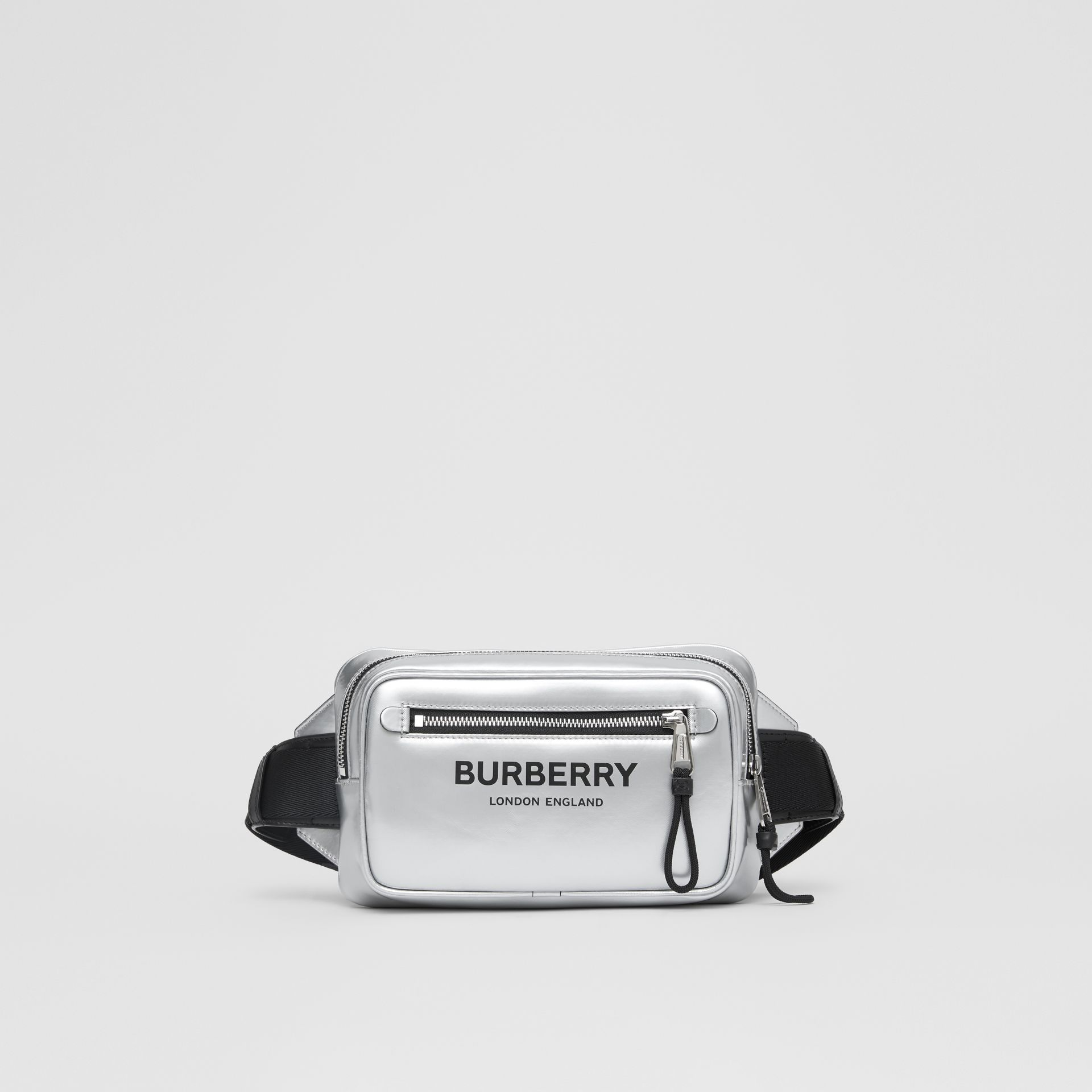 Metallic Coated Canvas Bum Bag in Silver - Men | Burberry - gallery image 0