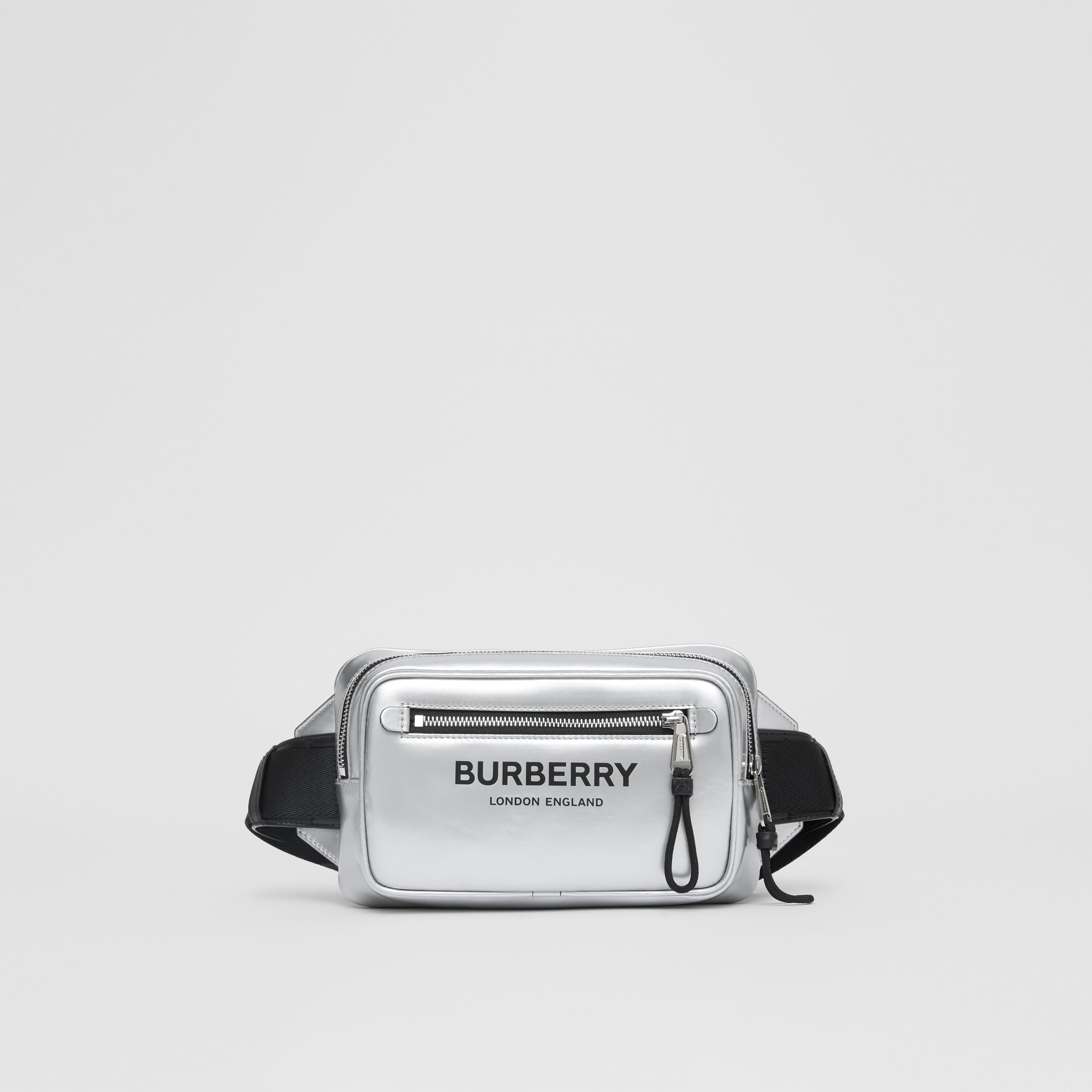 Metallic Coated Canvas Bum Bag in Silver - Men | Burberry - 1