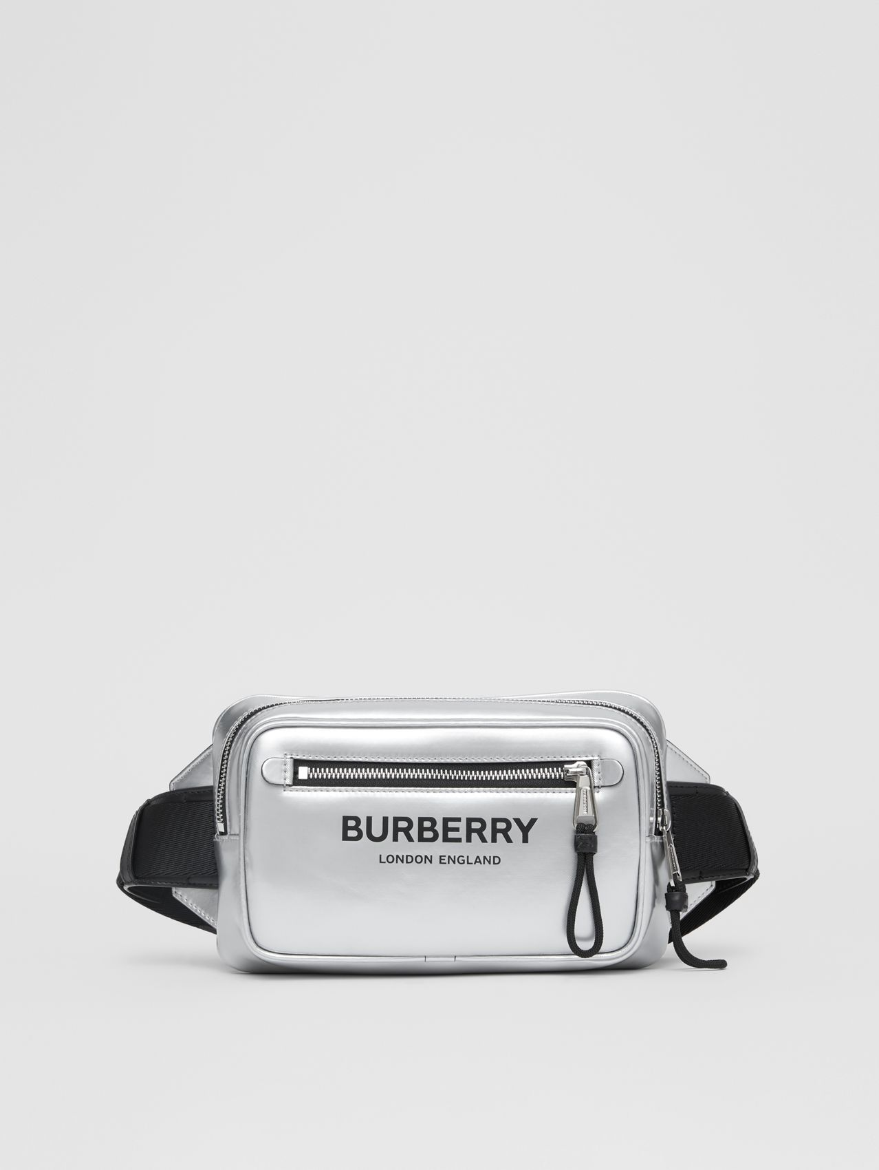 Metallic Coated Canvas Bum Bag in Silver