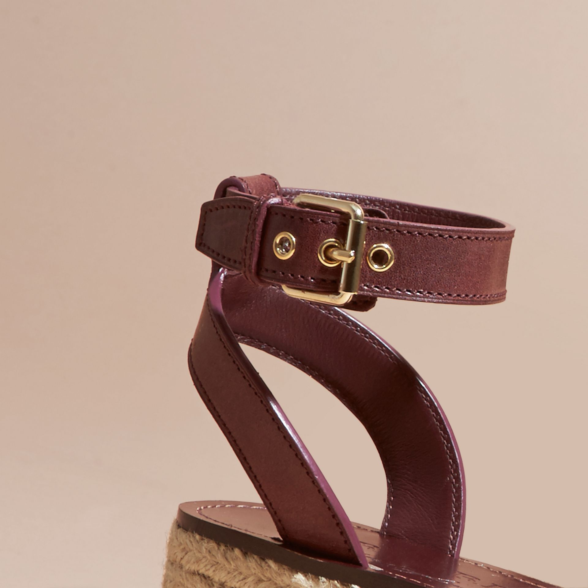 Leather and House Check Espadrille Platform Sandals Cerise Purple - gallery image 2