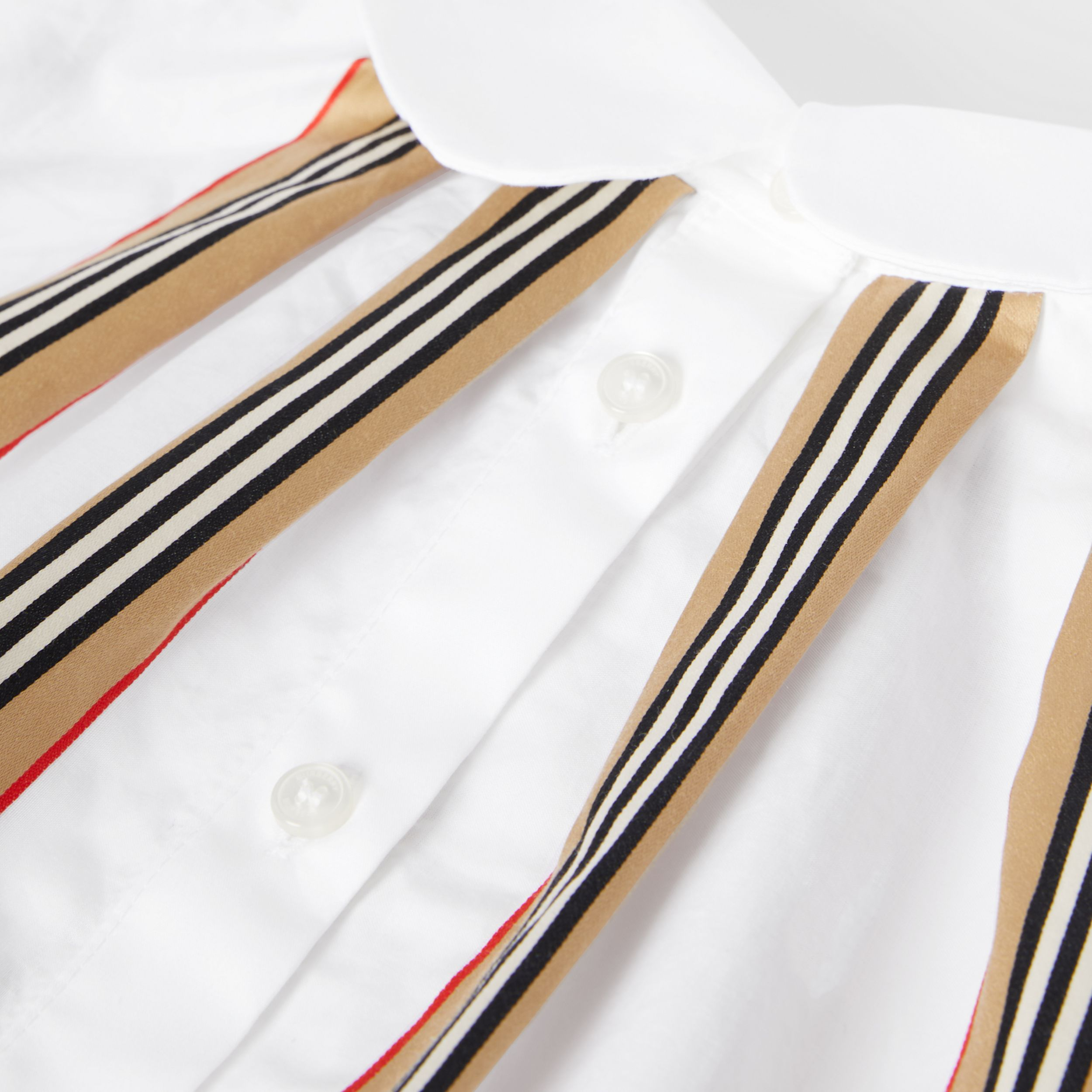 Peter Pan Collar Icon Stripe Cotton Blouse in White | Burberry - 2