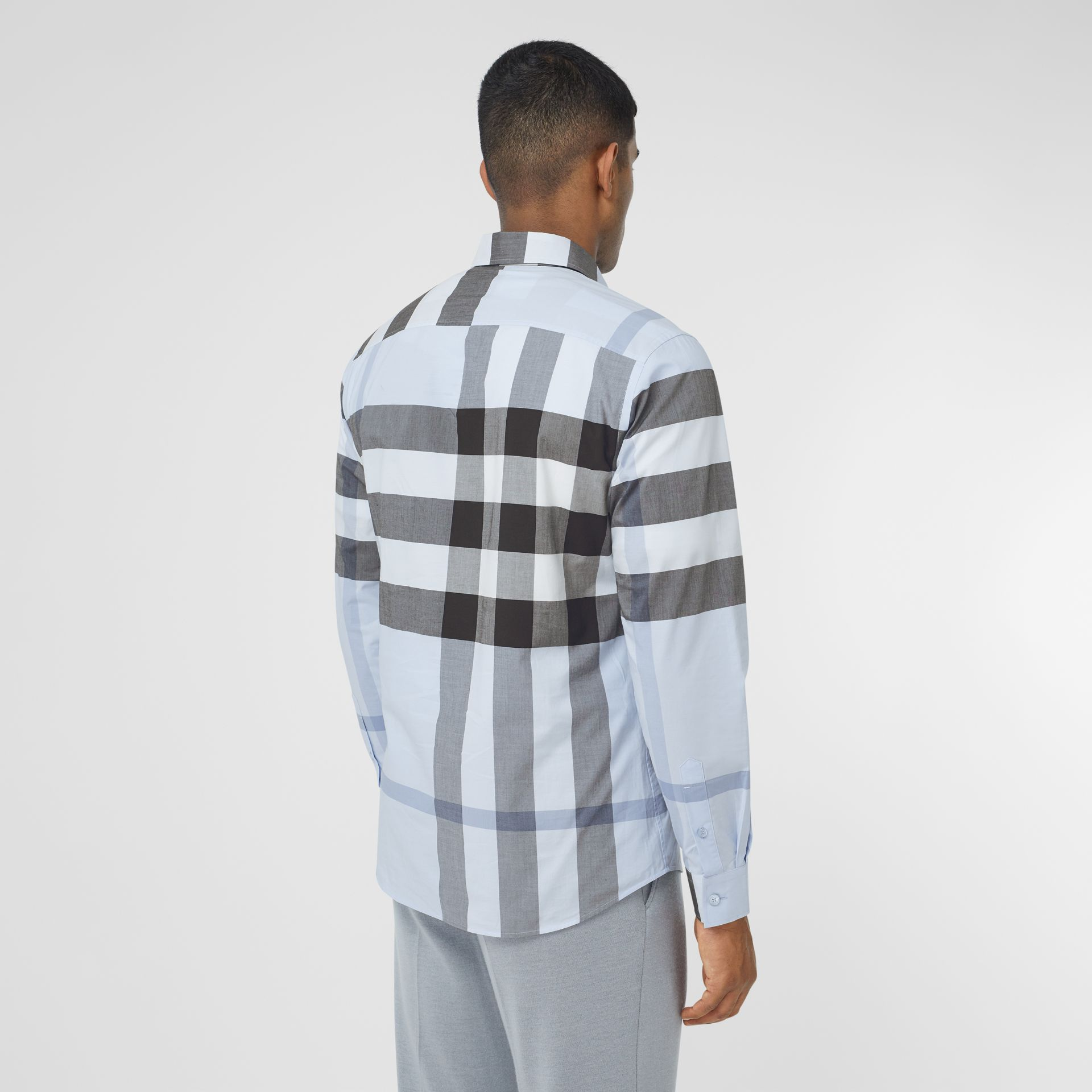 Check Stretch Cotton Poplin Shirt in Chalk Blue - Men | Burberry United Kingdom - gallery image 2