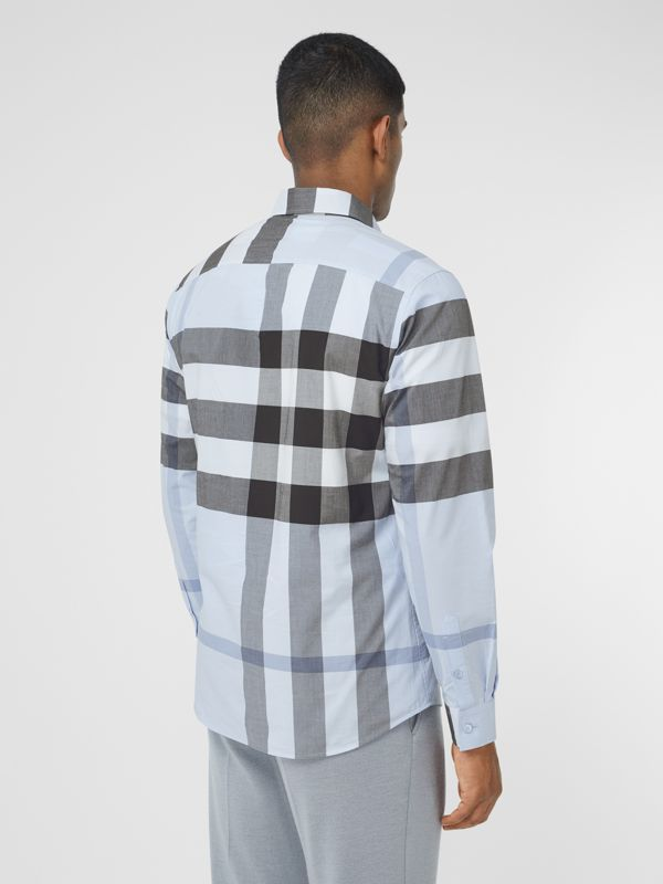Check Stretch Cotton Poplin Shirt in Chalk Blue - Men | Burberry United Kingdom - cell image 2