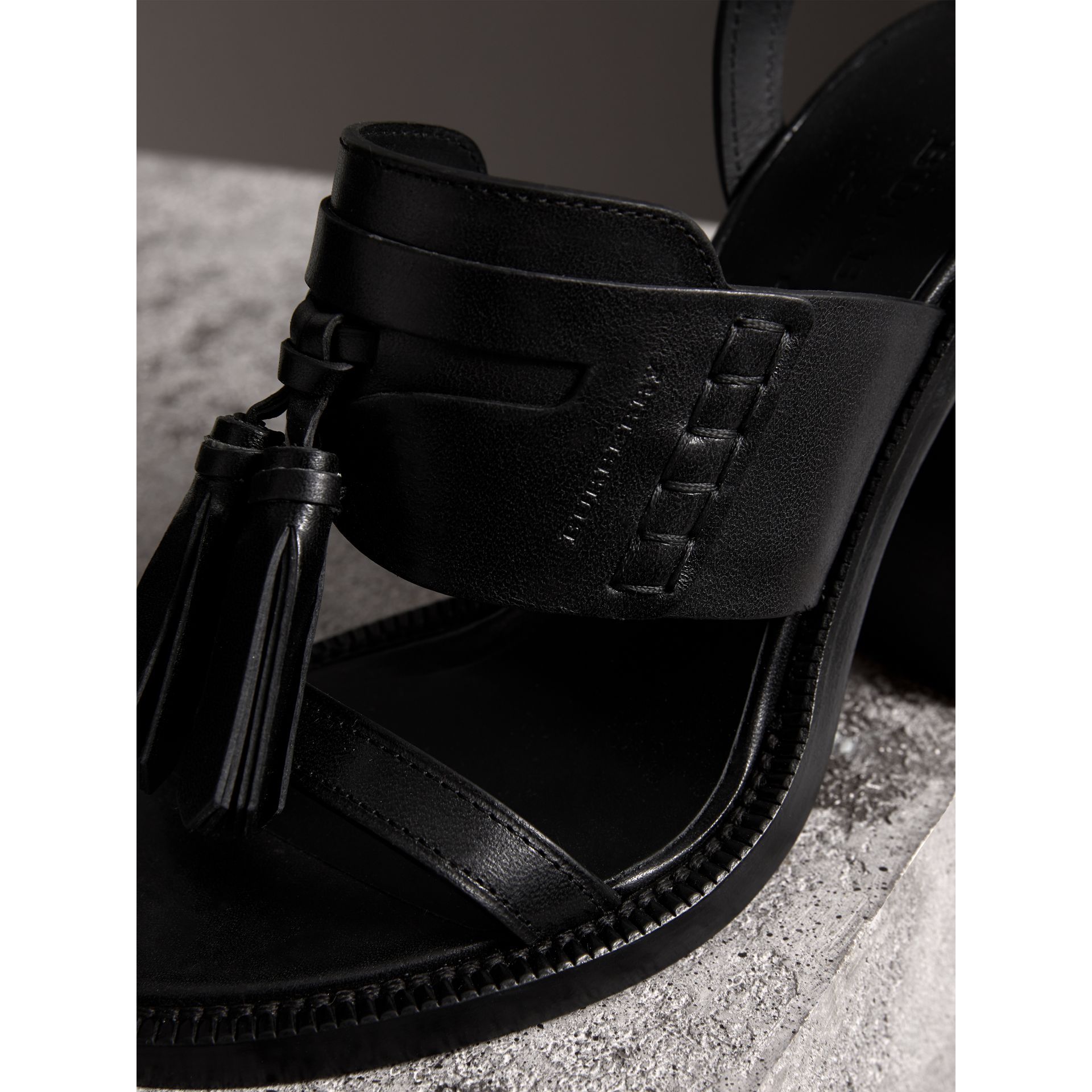 Tasselled Leather Block-heel Sandals in Black - Women | Burberry - gallery image 2
