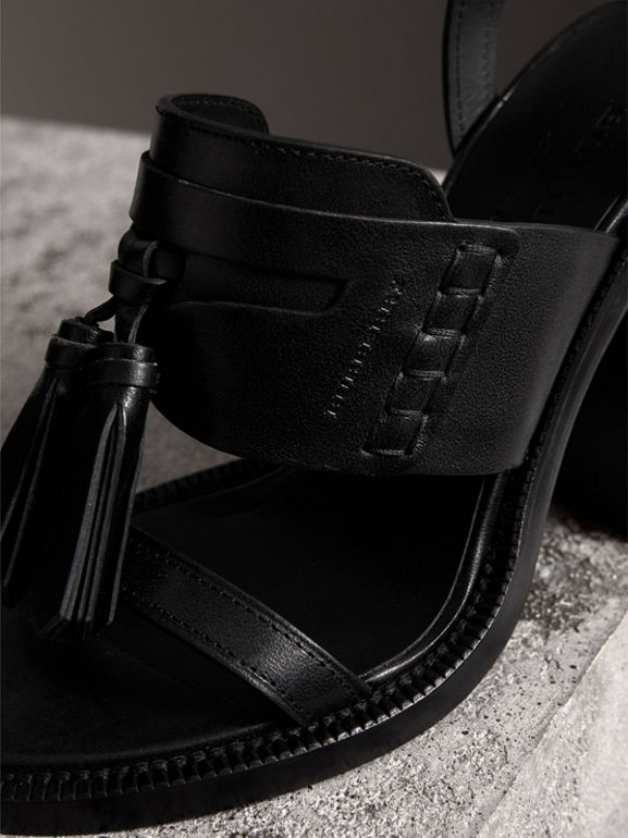 Tasselled Leather Block-heel Sandals in Black - Women | Burberry - cell image 1