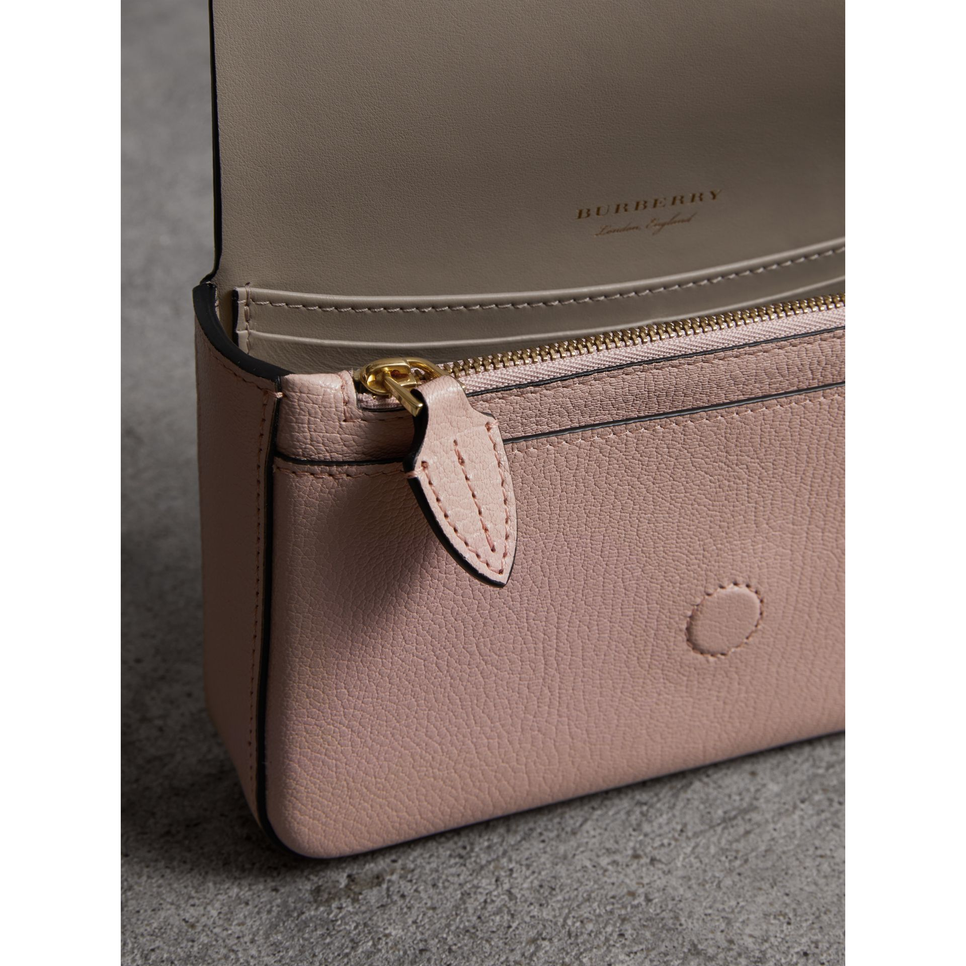 Equestrian Shield Leather Wallet with Detachable Strap in Pale Ash Rose - Women | Burberry Australia - gallery image 5