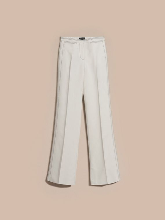 White Wool Silk Wide Leg Trousers - cell image 3