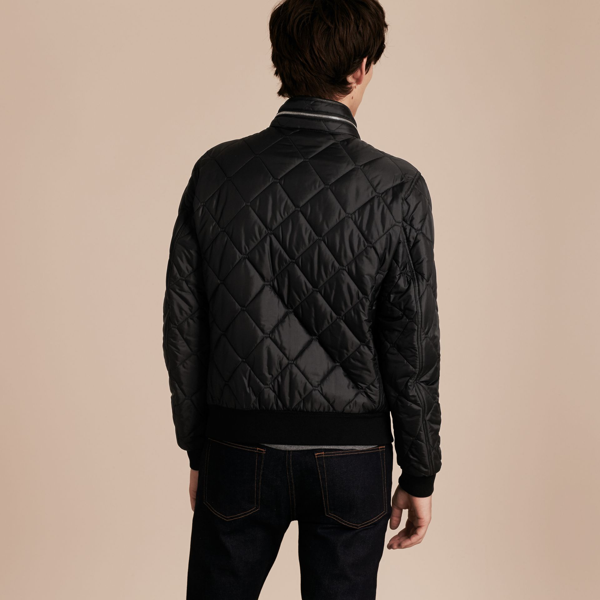 Black Quilted Packaway Hood Jacket - gallery image 3