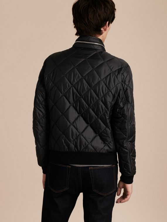 Black Quilted Packaway Hood Jacket - cell image 2