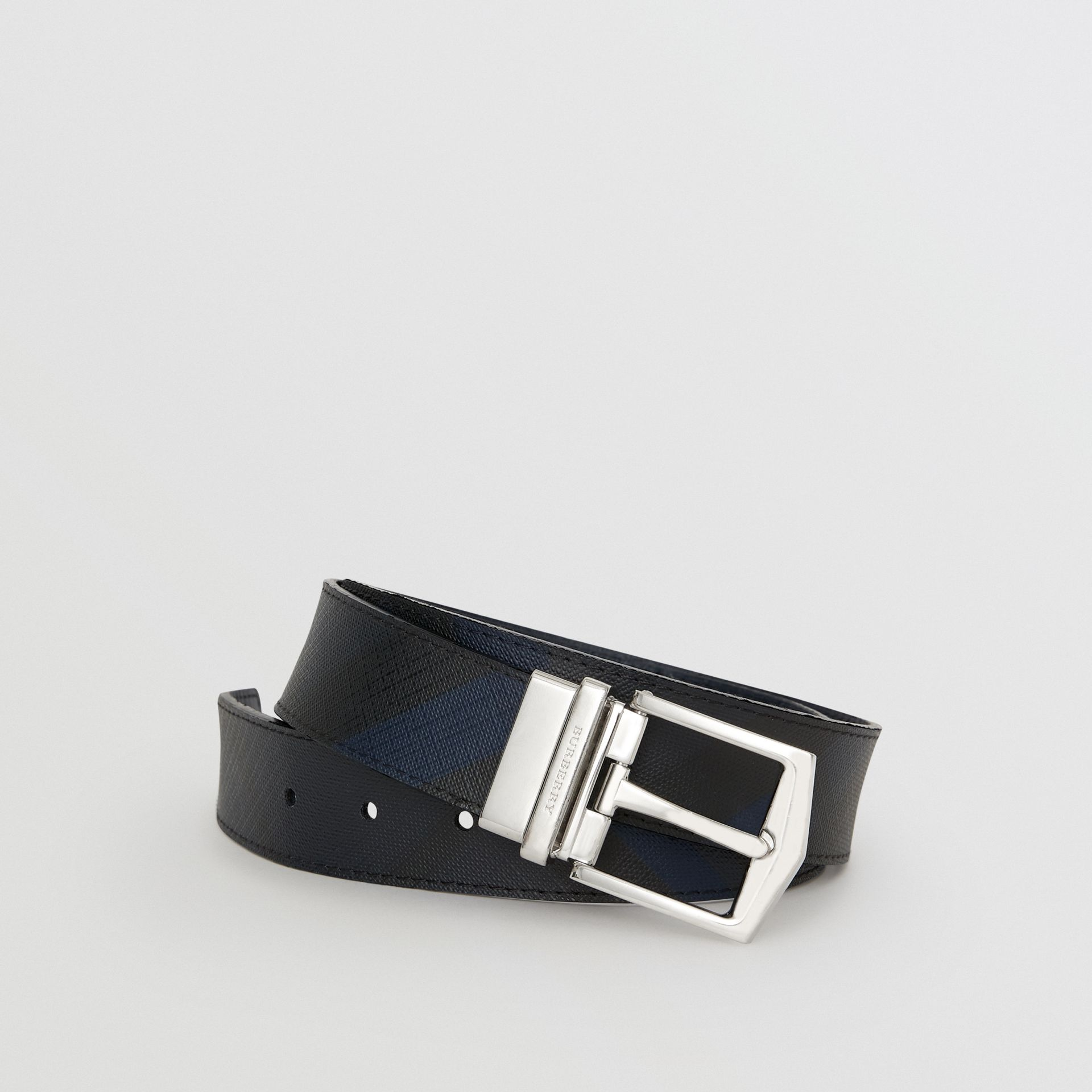 Reversible London Check and Leather Belt in Navy/black - Men | Burberry Canada - gallery image 0