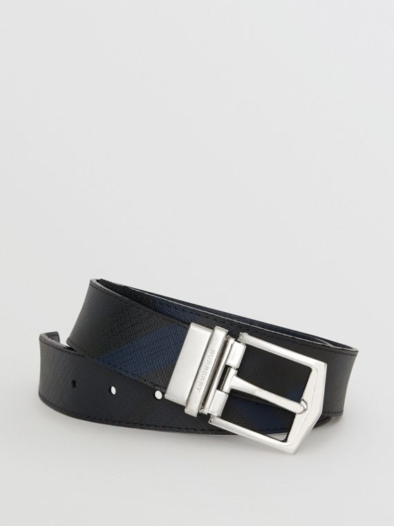 Cintura double face con pelle e motivo London check (Navy/nero)