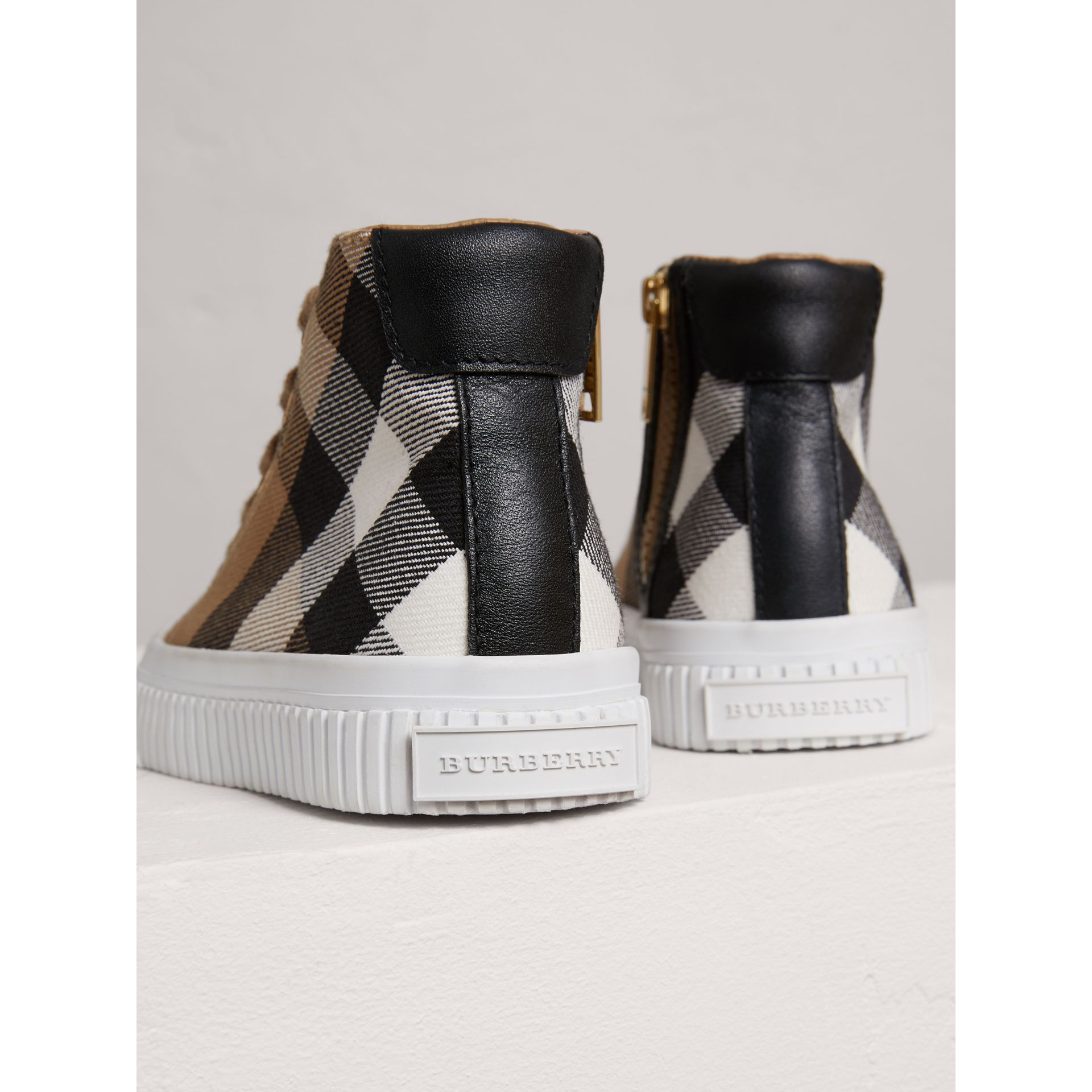 House Check and Leather High-top Sneakers in Classic/optic White | Burberry United Kingdom - gallery image 1
