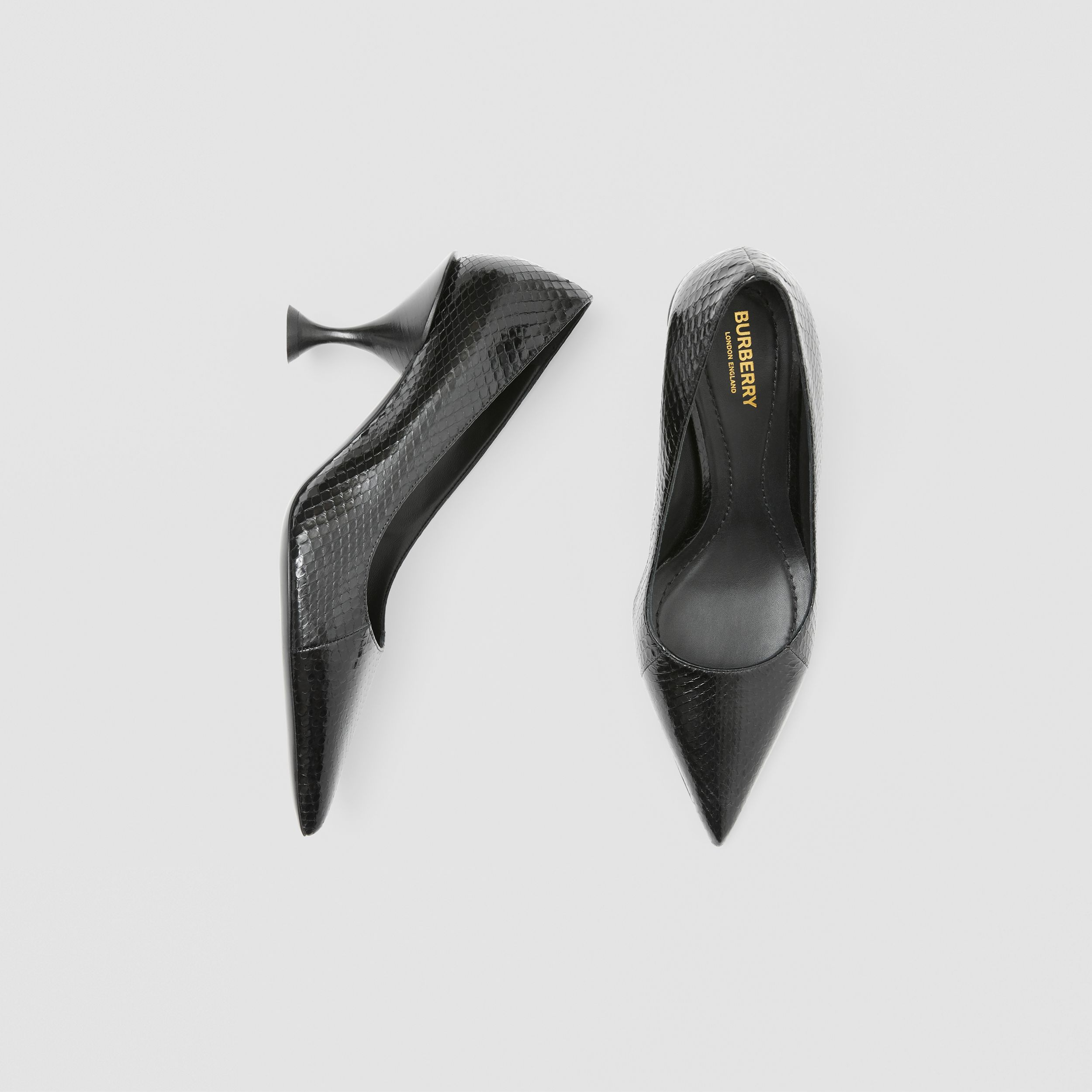 Snakeskin Point-toe Pumps in Black - Women | Burberry - 1