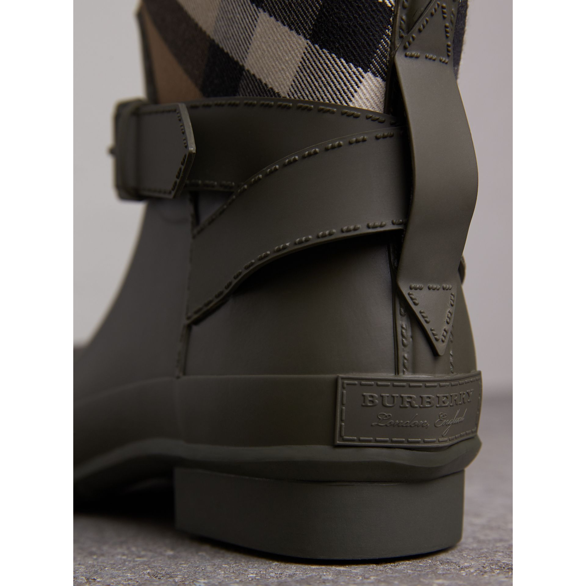 Belt Detail House Check and Rubber Rain Boots in Military Green - Men | Burberry - gallery image 2
