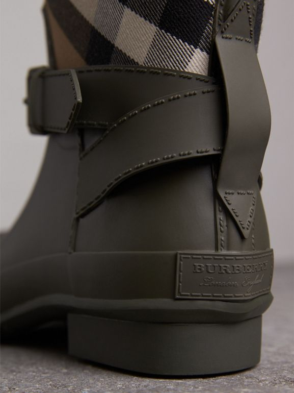 Belt Detail House Check and Rubber Rain Boots in Military Green - Men | Burberry - cell image 1