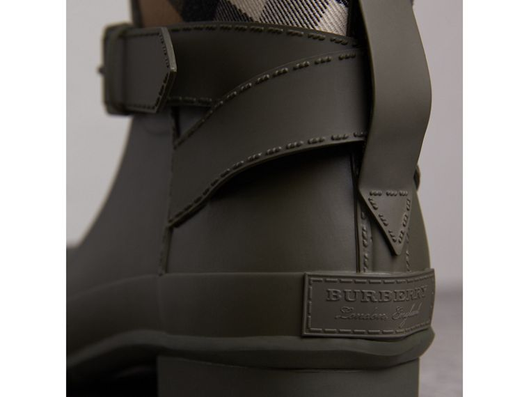 Belt Detail House Check and Rubber Rain Boots in Military Green - Men | Burberry Australia - cell image 1