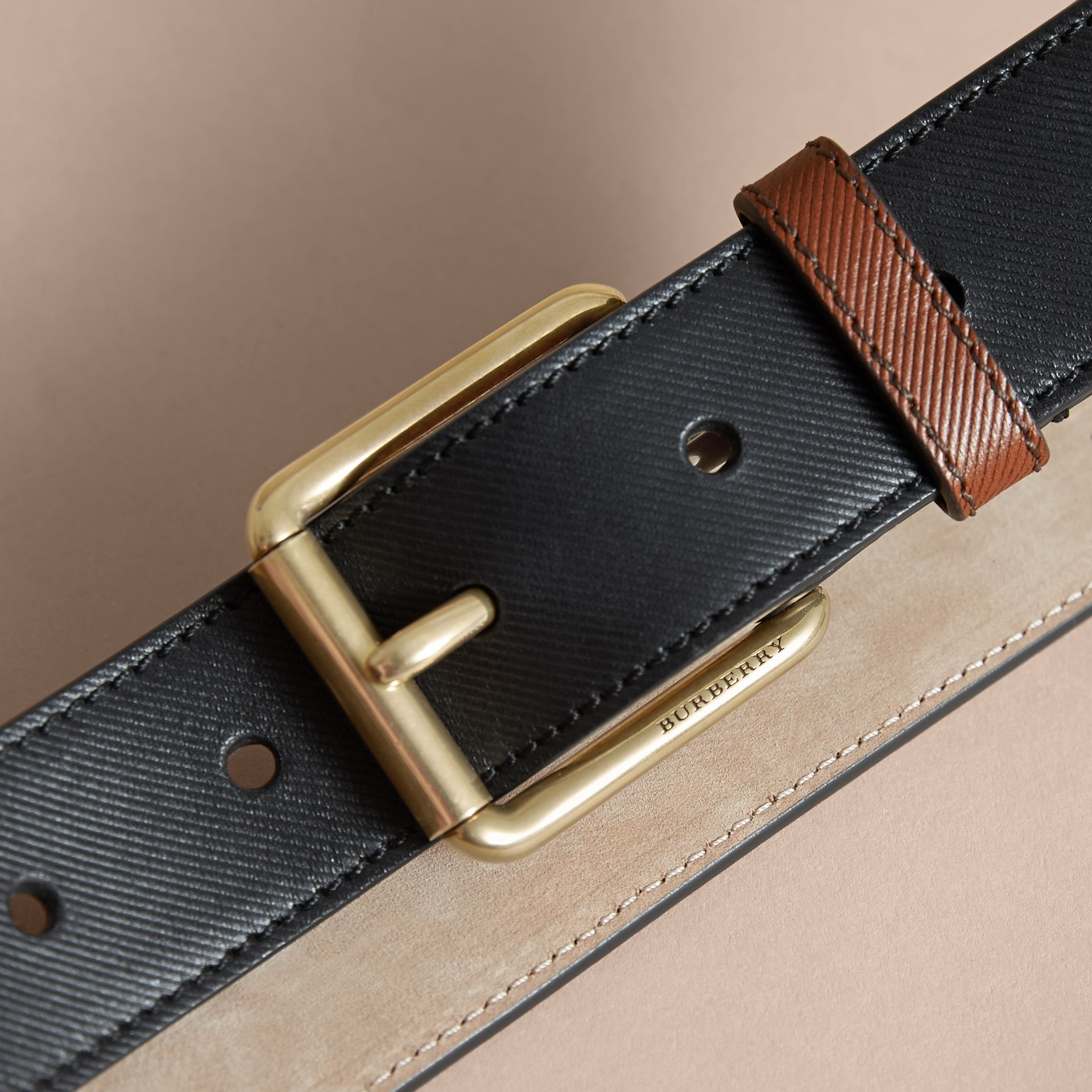 Two-tone Trench Leather Belt Black - gallery image 2
