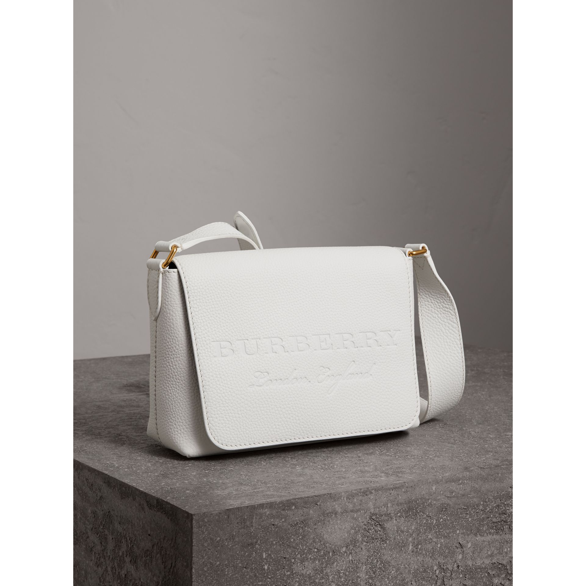 Small Embossed Leather Messenger Bag in Chalk White - Women | Burberry - gallery image 4