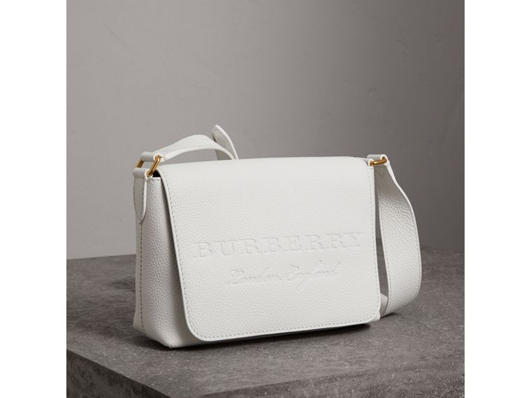 Small Embossed Leather Messenger Bag in Chalk White - Women | Burberry - cell image 4