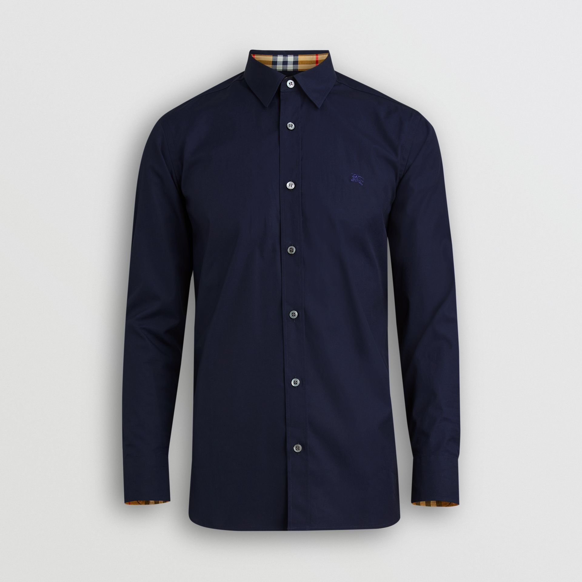 Check Cuff Stretch Cotton Poplin Shirt in Navy - Men | Burberry Australia - gallery image 3