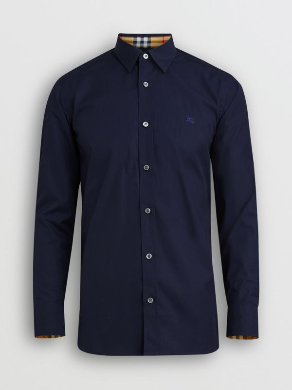 Check Cuff Stretch Cotton Poplin Shirt in Navy - Men | Burberry Australia - cell image 3
