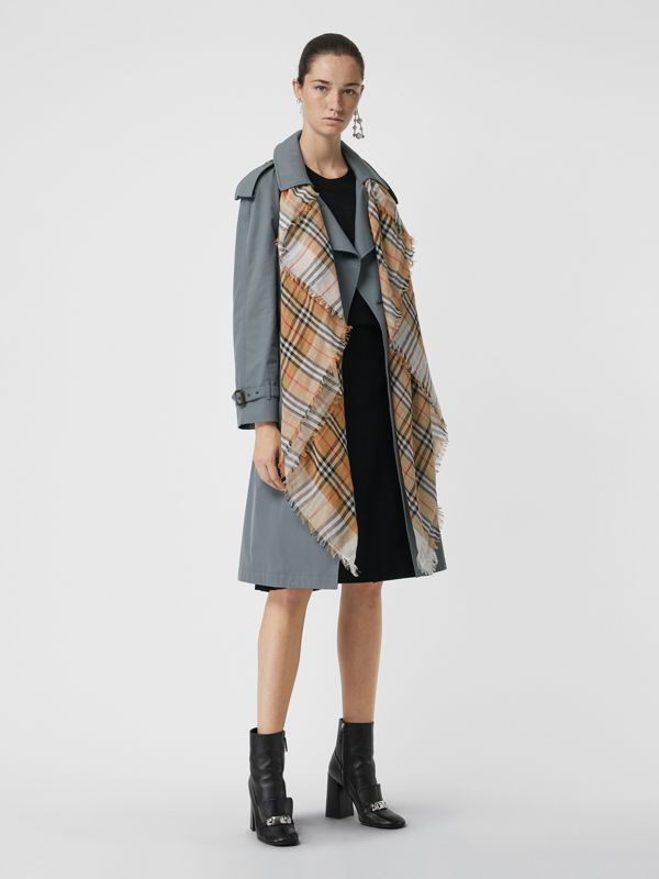 Two-tone Vintage Check Cotton Square Scarf in White | Burberry Canada - cell image 2