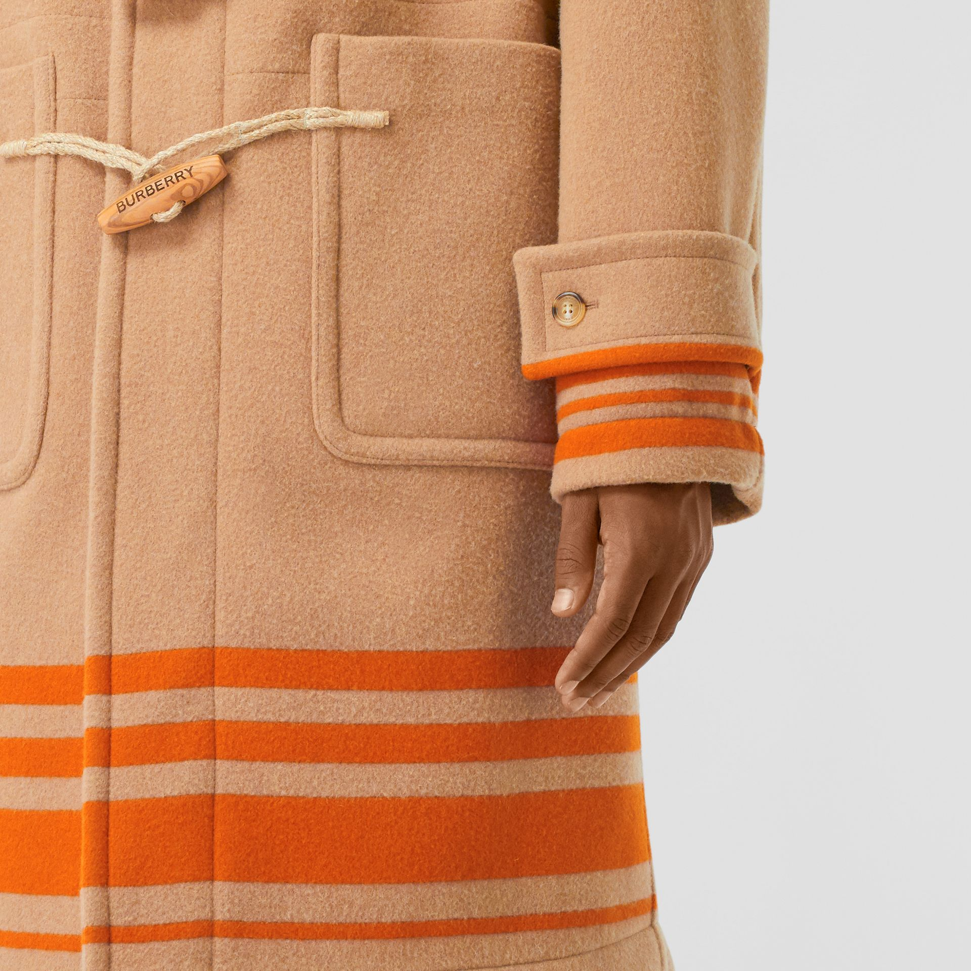Striped Double-faced Wool Duffle Coat in Camel/orange - Men | Burberry - gallery image 5