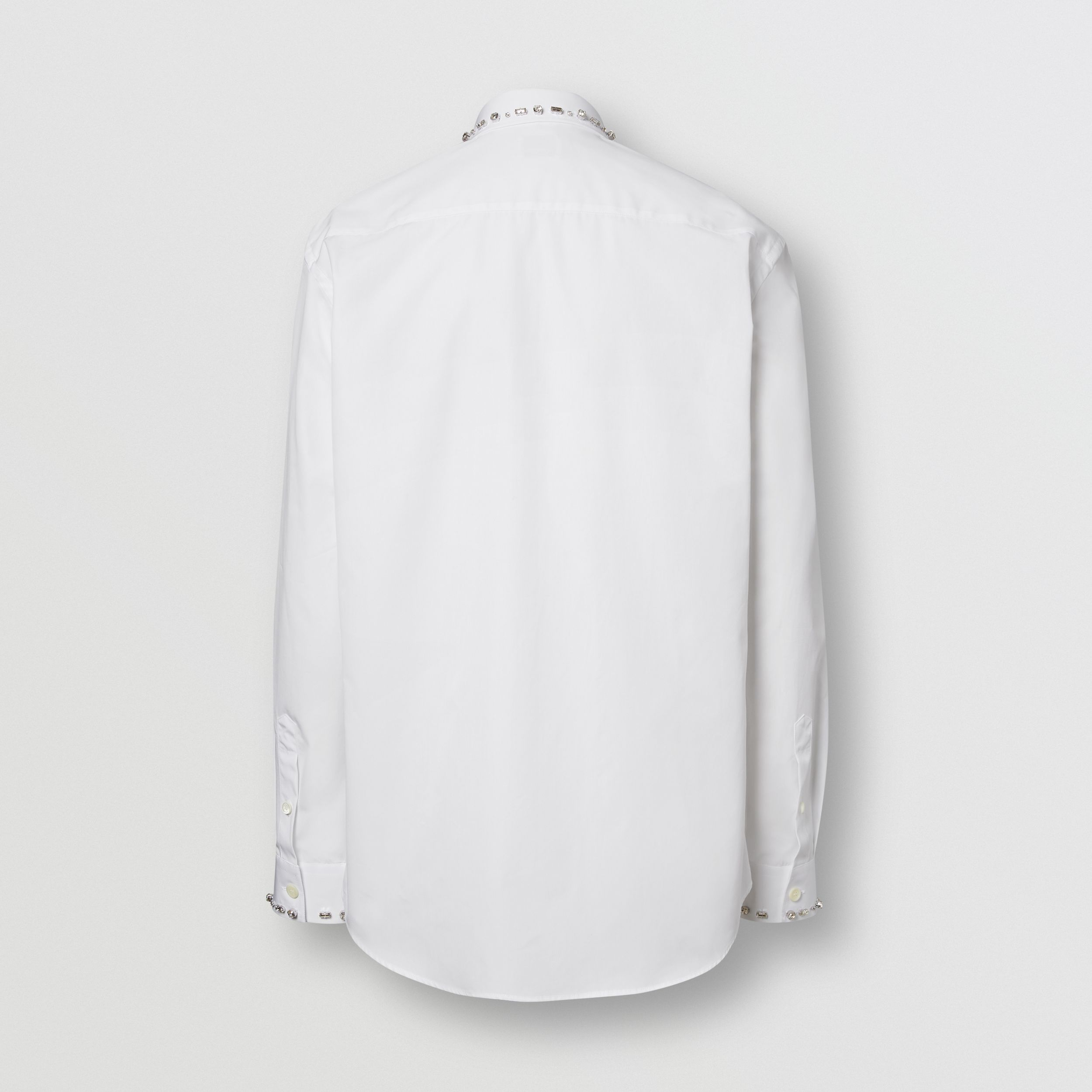 Classic Fit Embellished Cotton Poplin Dress Shirt in White - Men | Burberry Hong Kong S.A.R. - 1