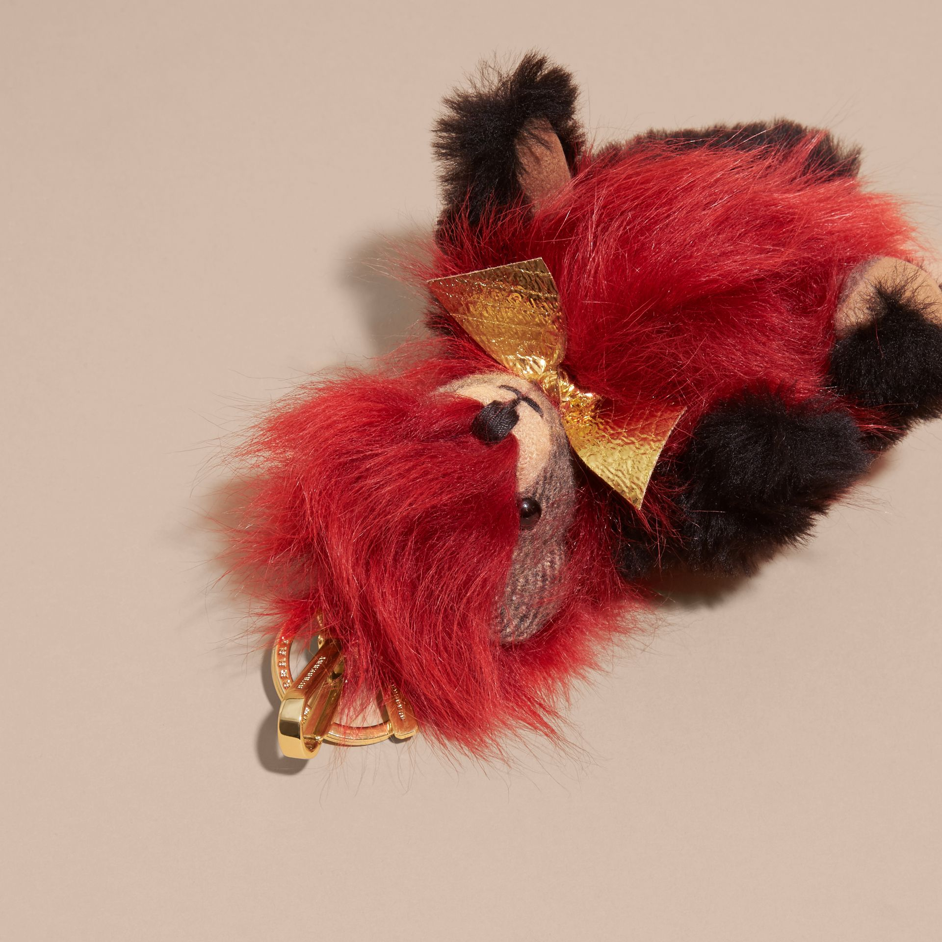 Thomas Bear Pom-Pom Charm in Check Cashmere in Parade Red | Burberry Australia - gallery image 6