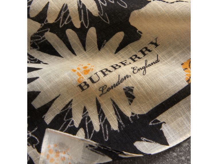 Daisy Print Cotton Scarf in Black | Burberry - cell image 1