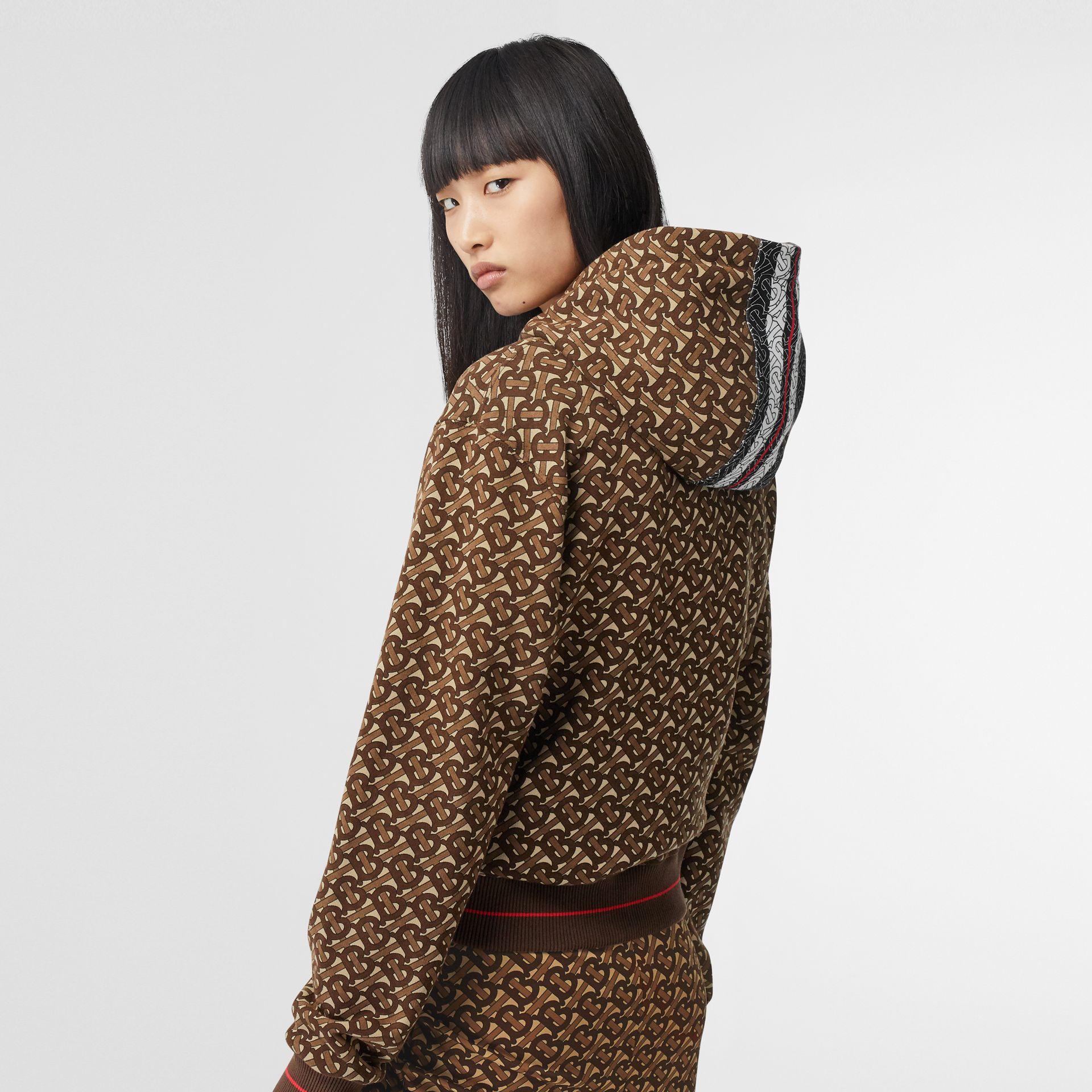 Monogram Stripe Print Cotton Oversized Hoodie in Bridle Brown - Women | Burberry - gallery image 2