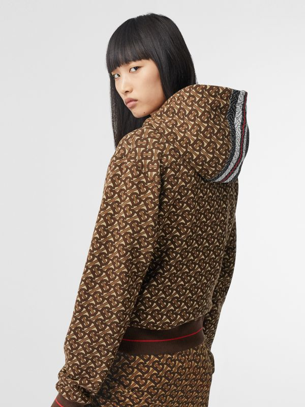 Monogram Stripe Print Cotton Oversized Hoodie in Bridle Brown - Women | Burberry - cell image 2
