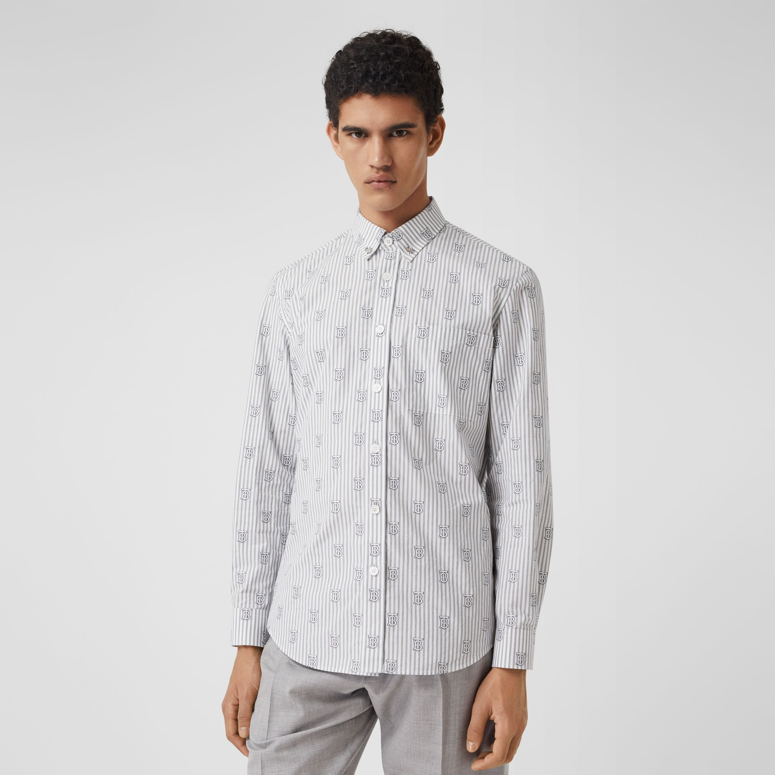 Slim Fit Monogram Motif Pinstriped Cotton Shirt in White - Men | Burberry Australia - 1